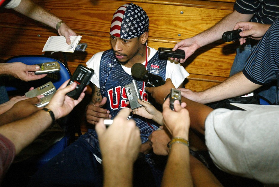 ALLEN IVERSON TALK TO PRESS AT USA PRACTICE IN NEW YORK.