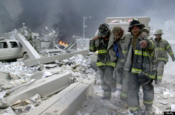 Firefighters Todd Heaney and Frankie DiLeo, of Engine 209, c